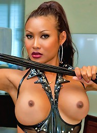 Big breasted fetsih queen Busty May strips for you.