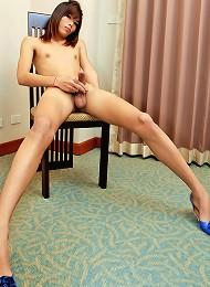 Ladyboy Aui spunk all over her balls