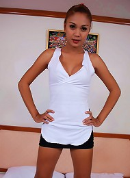 Exotic small ladyboy shows her tits