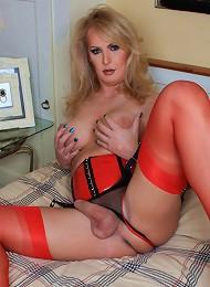 British shemale in hot red latex