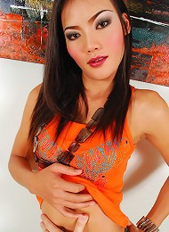 Exotic asian t-girl beauty exposes sexy body