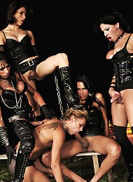 Slave training by a horny band of shemales