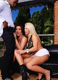 Hot tgirls Mel and Jay getting fucked by a black dude