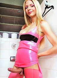Smoking hot blonde shemale Laviny in latex