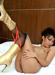 Super hot ladyboy cumming in her boots